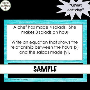 Write a Linear Equation Digital Task Card Activity Includes Word Problems