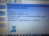 Write a Linear Equation Given a Point and the Slope or Given Two Points
