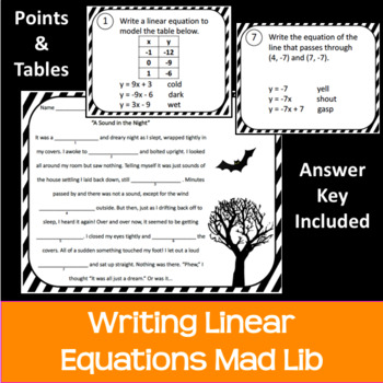 Write a Linear Equation from Points or Table Halloween Mad Lib