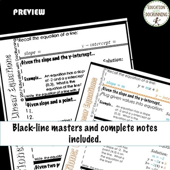 Write a Linear Equations Color Coded Interactive Notebook Algebra 2