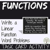 Write a Linear Function from Word Problems Task Card Activity RECENTLY UPDATED