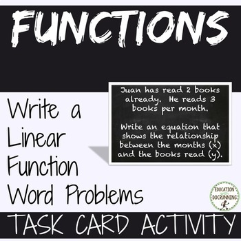 Write A Linear Function From Word Problems Task Card Activity