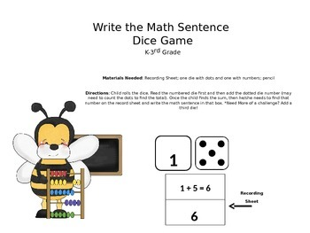 Write a Math Sentence-Dice Graphing Game