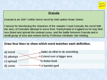 Write a PEE answer about Dracula! 1 hour lesson for low ability learners!