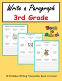 Write a Paragraph (3rd Grade) - Back to School