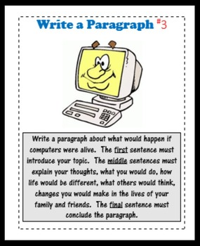 Write a Paragraph:  Task Cards