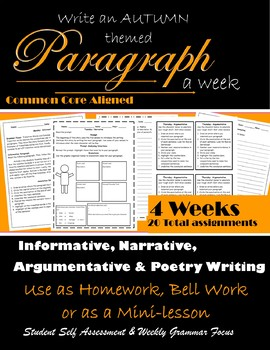 Paragraph Writing One a Week: Argumentative, Narrative, Informative & Poetry