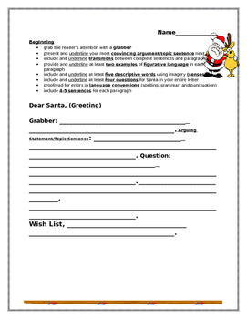 Write a Persuasive/Opinion Friendly Letter to Santa