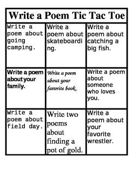 Write a Poem Tic Tac Toe Menu