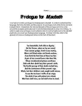Write a Prologue for Macbeth