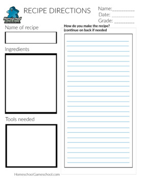 Write a Recipe Expository Essay (dysgraphia, elementary, middle, high school)