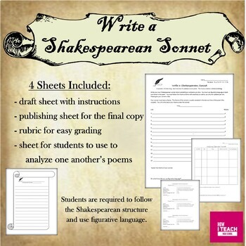 Write a Sonnet: Draft Sheet, Publishing Sheet, Rubric, Analyze Classmates' Poems
