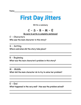 Write a Summary for First Day Jitters