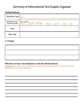 Write a Summary of Informational Text Graphic Organizer