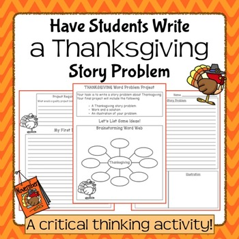 Thanksgiving Story Problem Writing Project for Elementary