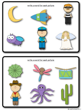 Write a Word Slate Work Cards for Beginning Writers