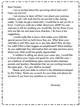 Write a Letter About Your Child *FREE and EDITABLE*