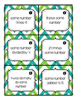 Write an Equation Task Cards