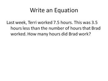 Write an Equation to Solve the Problem