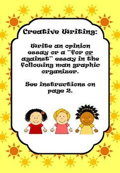 """Write an Opinion Essay or a """"For or Against"""" Essay Graphic Organizer"""