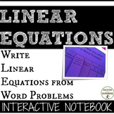 Writing equations from word problems Interactive Notebook Pages