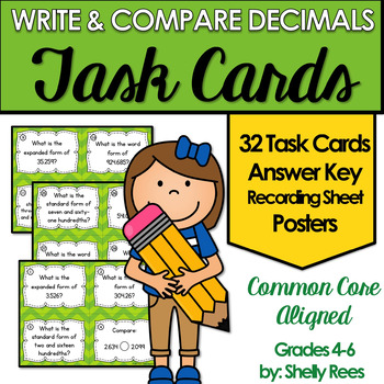 Comparing Decimals and Number Form Task Cards and Posters