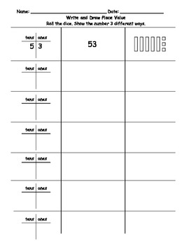Write and Draw Place Value Math Station or Worksheet