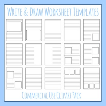 Write and Draw - Story Worksheet Templates Clip Art Set for Commercial Use