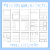 Write and Draw - Story Worksheet Templates Clip Art Set fo
