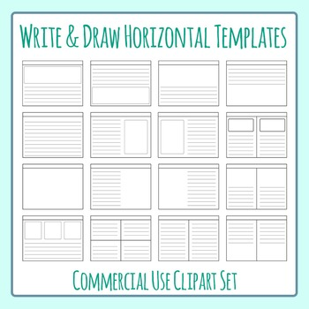 Write and Draw Story Worksheet Templates Horizontal Clip Art for Commercial Use