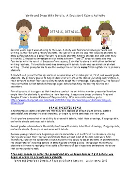 Write and Draw With Details, A Revision Activity For Kinder & First Graders