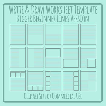 Write and Draw Worksheet Templates for Beginner Bigger Lines Clip Art Set