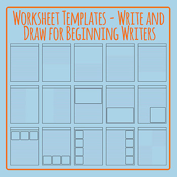 Write and Draw Worksheet Templates for Beginner Writers Clip Art Set