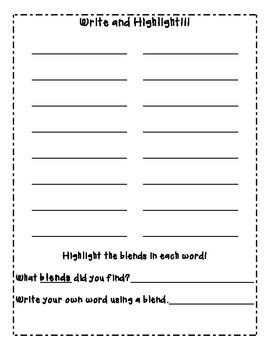 Write and Highlight Spelling/Phonics Worksheets