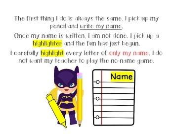 Write and Highlight my Name - Superhero Theme