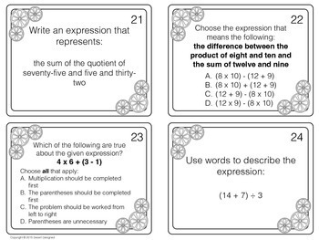 Write and Interpret Expressions Task Cards Common Core