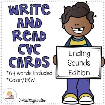 Write and Read CVC Cards - Ending Sounds Edition