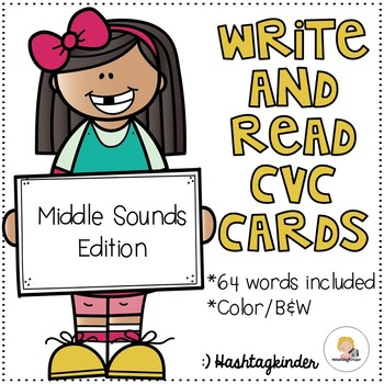 Write and Read CVC Cards - Middle Sounds Edition