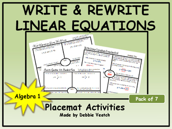 Write and Rewrite Linear Equations Placemat Activities (Pa