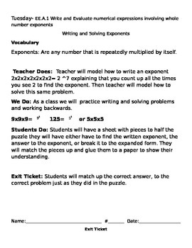Write and Solve Exponents