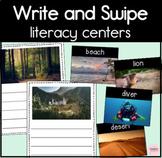 Write and Swipe Literacy Center for Kindergarten Writing Practice
