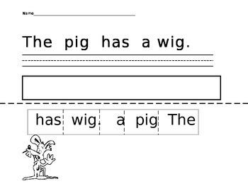 Fun Sentences-Write and Unscramble a Sentence- A Cut and Paste Activity