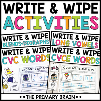 Write and Wipe Activity Mat BUNDLE - Includes CVC, Long Vowels, Blends, Digraphs