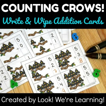 Write and Wipe Addition Cards: Counting Crows!