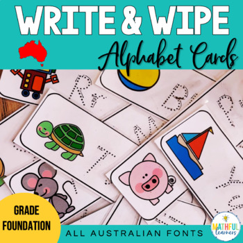 Write and Wipe Alphabet Handwriting Cards - also with Australian fonts