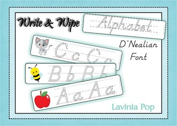 Write and Wipe - Alphabet with Lines D'Nealian Font