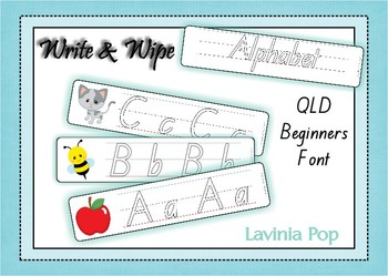 Write and Wipe - Alphabet with Lines QLD Beginners Font