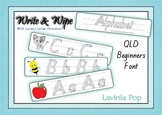 Write and Wipe - Alphabet with Correct Correct Letter Form. QLD Beginners Font