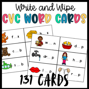CVC Words- Write and Wipe Task Cards