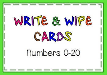 Write and Wipe Cards Numbers 0-20